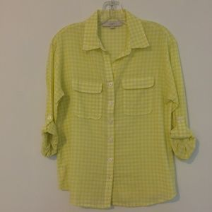LOFT Check Button Front Blouse